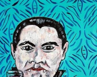 20 % off storewide dracula vampie at the wine bar art PRINT poster gift modern folk pop art