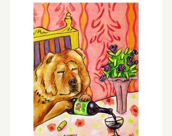 20 % off storewide Chow Chow at the Wine Bar Dog Art PRINT   JSCHMETZ modern abstract folk pop art american ART gift