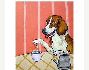 20% off storewide Beagle Steeping Green Tea  Dog Art Print