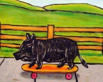 20% off Pot Belly Pig on a Skateboard Animal Art Tile Coaster