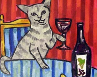 20% off Cat at the Wine Bar Art Tile Coaster