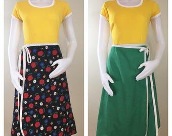 80s Black Floral Reversible to Green A-Line Wrap Skirt, Size XL to 1X, Plus Size