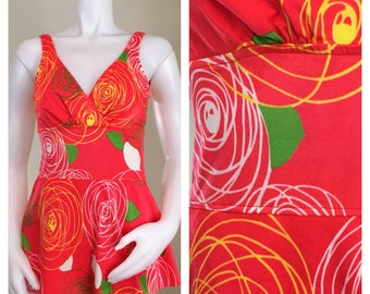60s Jantzen Mod Red Floral One Piece Swim Dress or Swimsuit, NWT, Size XS to Small