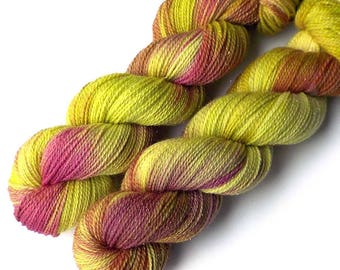 Limited Edition Hand Dyed Sock Yarn Merino Gold Glimmer, Cabbage Rose