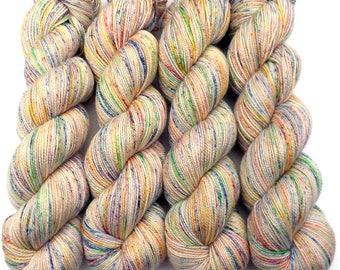 Sock Yarn Handdyed Superwash Merino Nylon Fingering Yarn - Sidewalk Chalk Confetti, 400 yards