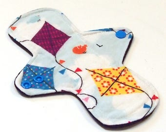 """Reusable Cloth Menstrual pad- 8 inch LIGHT flow pantyliner-bamboo/organic cotton core- Windpro - cotton flannel top """"Kites"""""""