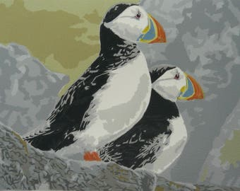 Puffin Duo Original Screenprint