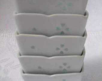Beautiful Vintage Small Side Dish White Porcelain Square Bowls