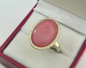 AAAA Pink Opal 18 x 13mm  5.88 Carats   14K Yellow gold Diamond halo cabochon ring. 1517a