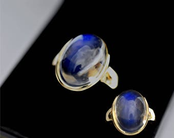 AAAA Blue Moonstone Cabochon 9.70 carats  Gem Quality 16x12mm in 14K Yellow gold ring, also available in Rose or White gold 1101