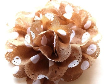 HALF PRICE SALE White and brown polka dot fabric flower brooch