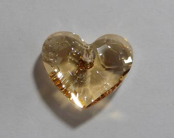 Vintage Swarovski Golden Shadow Heart Faceted Crystal Bead  18mm (1)
