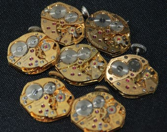 Vintage Antique gold Watch Movements Steampunk Altered Art Assemblage RT 24