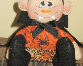 Primitive Hand crafted Halloween Sitting Dracula Vampire Doll Shelf Sitter Ornie