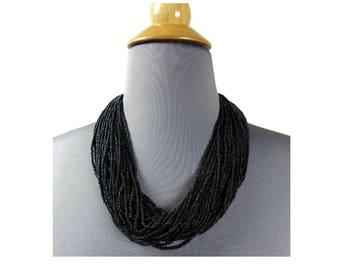 J. Peterman Black Torsade Necklace Vintage Tiny Glass Beads 50 Strands Hand Made