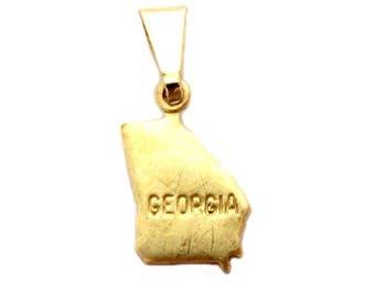 "Georgia  State Necklace.  Raw Brass.  18"" Gold Chain. Tiny."