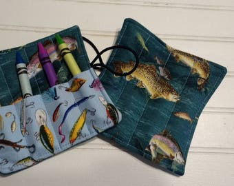 Trout & Lures - Mini Crayon Roll