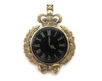 Clock Brooch - Costume Jewelry Crown Laurel Leaves