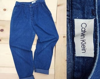 """Vintage CALVIN KLEIN Jeans  //  Vtg 80s 90s Made in the USA Distressed High Waist Pleated Trouser Jeans //  29"""" waist"""