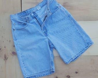 "Vintage Denim Shorts  //  Vtg 90s LEVI'S  Made in the USA 550 High Waist Distressed Faded Light Wash Indigo Shorts  //  31.5"" waist"