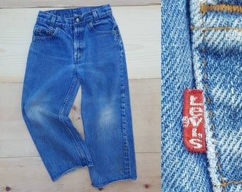 Vintage Levi's Jeans  //  Vtg 70s 80s LEVI'S Made in the USA Child Sized Distressed Cropped Denim Jeans  //  Kids size 6 / 7