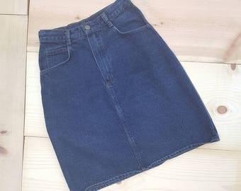 Vintage Denim Skirt  // Vtg 80s 90s Made in the USA Plain and Simple Dark Denim High Waist Skirt