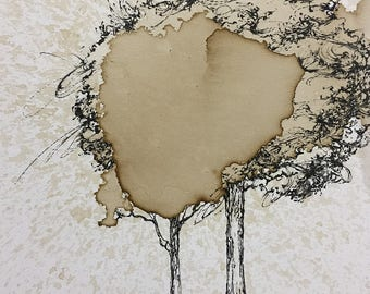 Twin Java Tree 16 x 20 Original Painting. coffee and black acrylic. oak, maple