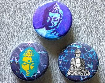 Buddha Street Art button pin set