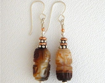 OnSale Earrings, Agate and Silver