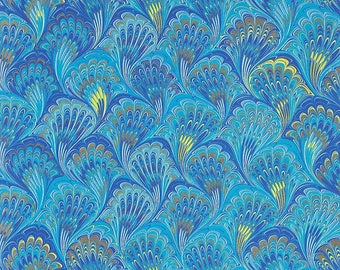 Blue Marbeled Feathers Italian Print Paper with Golden Highlights ~ Carta Fiorentina Italy F035