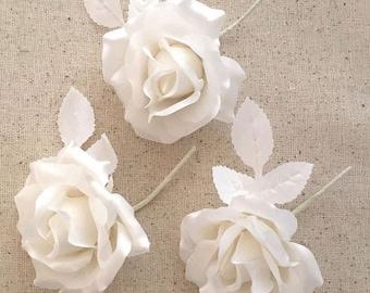 White Satin Roses 3 Vintage Millinery Flowers 1940s East Germany VAT021