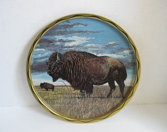 Vintage Decorative Buffalo Serving Tray Wall Hanging Signed