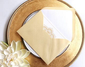 Wedding Invitation, RSVP Envelope Liners - Pearl White, Cream, Blush Pink, Pearl Pink or Ivory - Hindu Ceremony - Chakra Collection
