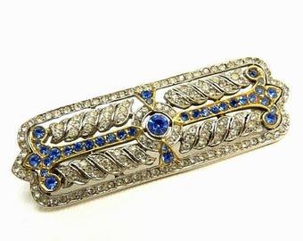 Vintage Art Deco Blue & Crystal Rhinestone Brooch