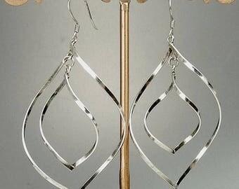Modernist Sterling Silver Spiral Dangle Earrings