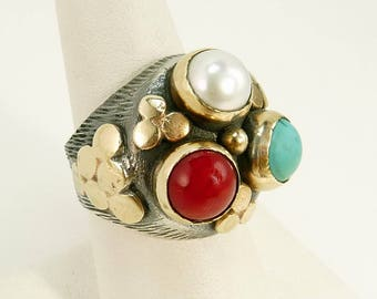 Ethnic Tribal 925 Ring Turquoise Coral & Pearl Statement Jewelry