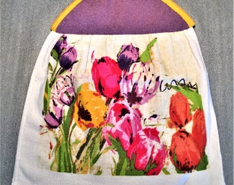 WATERCOLOR TULIPS Double Layer Hanging DECORATIVE Towel, oven door towel, kitchen, housewarming, birthday, gifts, holiday
