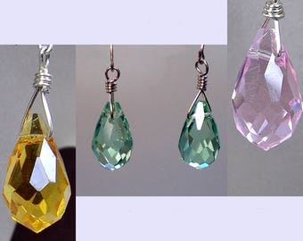 Earring Pendant Charm; Green Brown Pink Faceted Glass Teardrop Interchangeable Dangle Wrapped in Sterling Silver; Pendant Workplace Jewelry