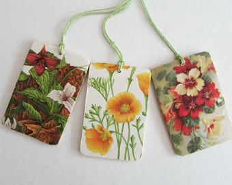 Set of 3 Vintage Image and Fabrics Gift Tags, Scrapbook Tags, Hang Tags,  Collage on Wood Tags,  Flower Images, Botanical, Event Gift Tags