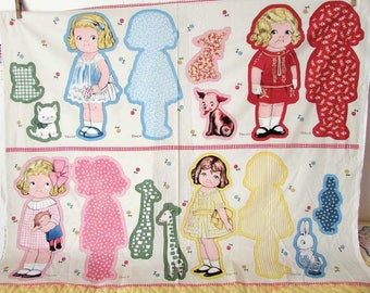 Vintage Paper Dolls Cotton Fabric Panel, Campbell Kid Girl Style Dolls to Sew, Cloth Dolls, 4 Dolls, 4 Doll Pets, Fabric Supply, Sewing
