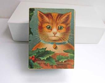 Gift Box, Trinket Box, Jewelry Box, Keepsake Box, Handmade Decorated Box, Vintage Paper Box, Cat w Bell Collar and Holly Leaves