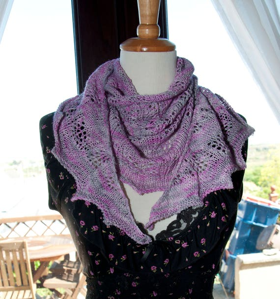 Handknitted Semi Circle Shawl in Hand-dyed Yarn in Pink and Grey