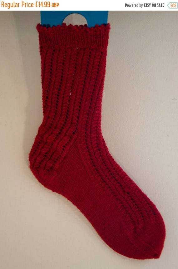 Christmas In July Handknitted Socks in Red