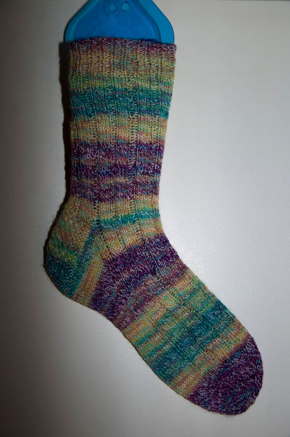 Handknitted Unisex Socks in Shades of Green, Yellow and Brown