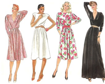1980s Dress Pattern Day Evening Dress Very Easy Vogue Vintage Long Short Uncut Sewing Women's Misses Size 16 - 18 Bust 38 - 40 Inches