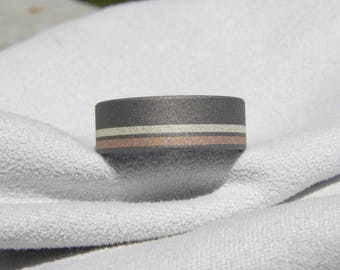 Titanium with Offset Silver and Rose Gold Inlay Ring, Wedding Band, Unisex Ring, Sandblasted