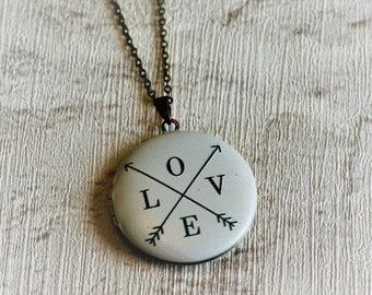 Love Arrow Locket Necklace, Love Jewelry, Valentines Gift, Love Locket