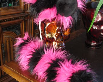 Cheshire cat pink/black striped luxury shag faux fur ears tails & sets