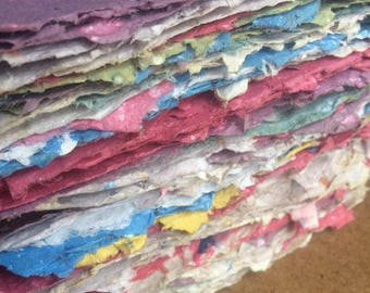 Handmade paper to benefit Camp Sunshine, recycled paper, cancer, eco friendly paper, textured paper, decorative paper, collage supply