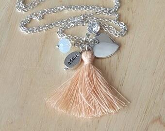 hope jewelry, tassel necklace, tassel charm necklace, long tassel necklace, inspirational jewelry, gift mom, birthday gift for teen girl